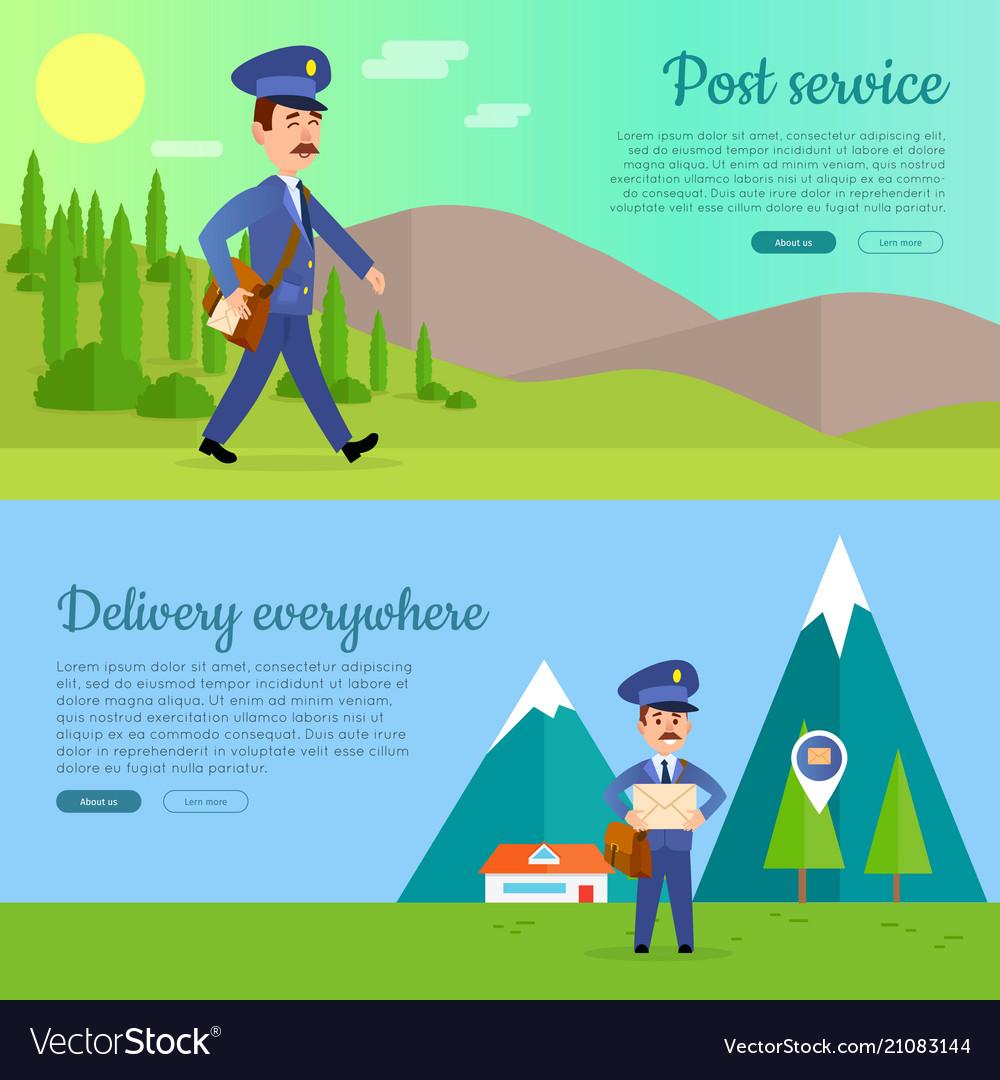 Post service cartoon web banners set