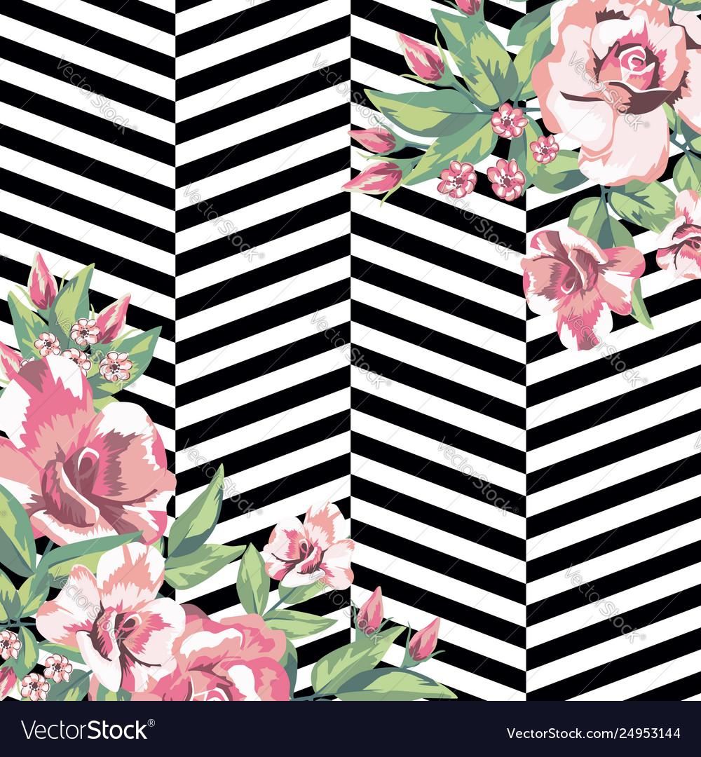 Rose flowers print pattern in black white