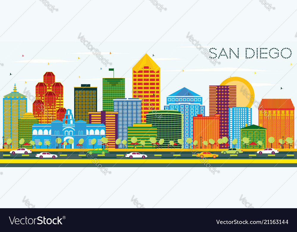 San diego california skyline with color buildings