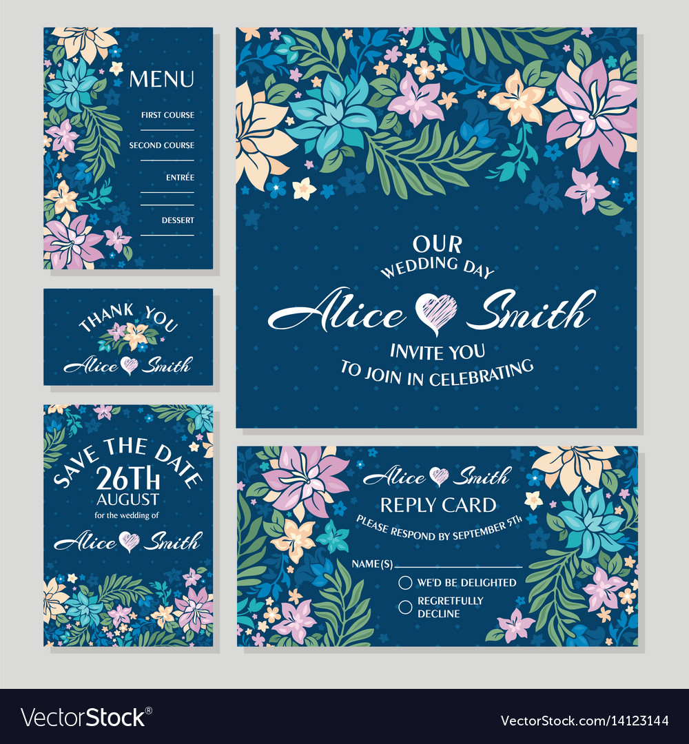 Set floral wedding cards vector