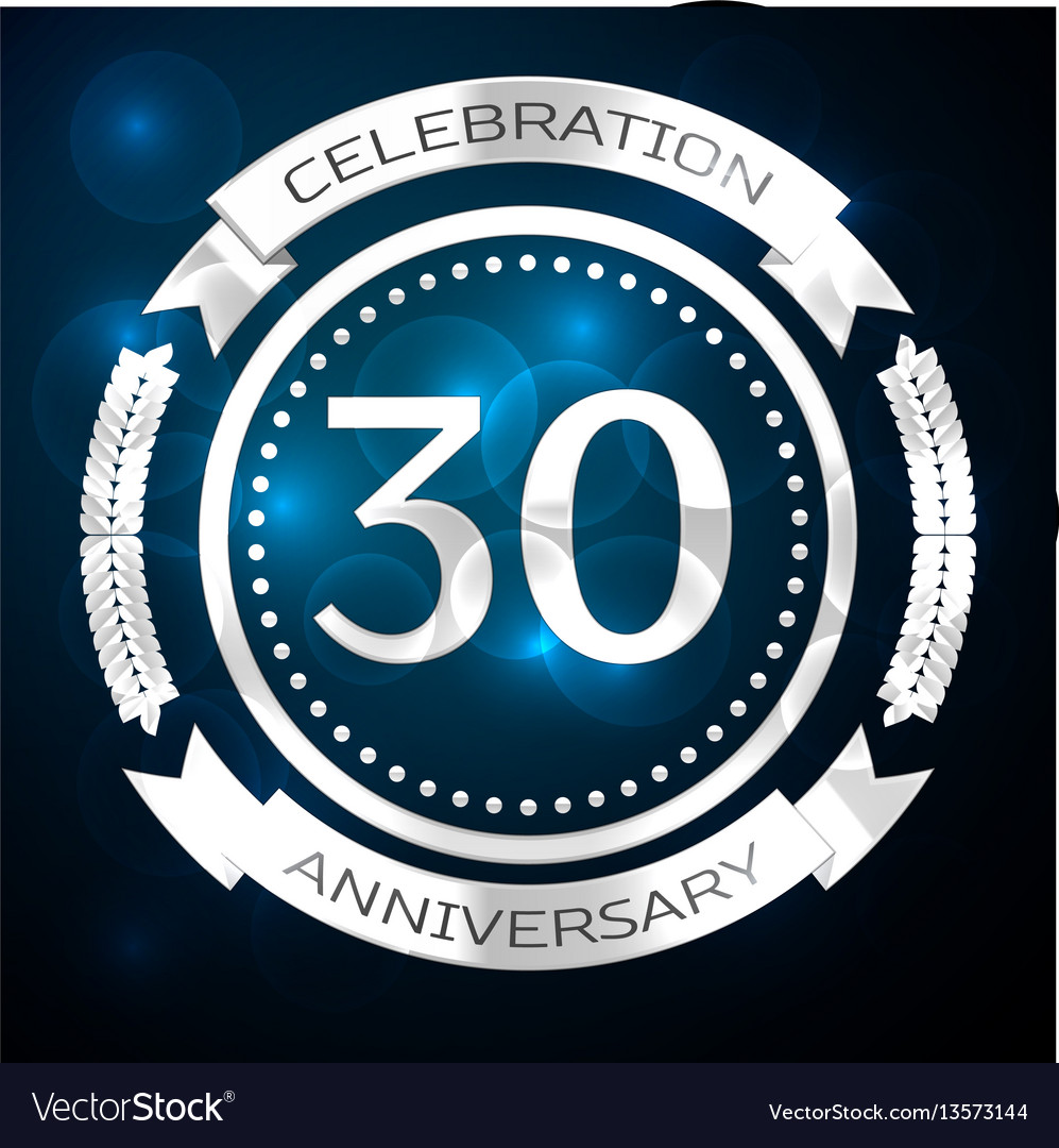 Thirty years anniversary celebration with silver vector image