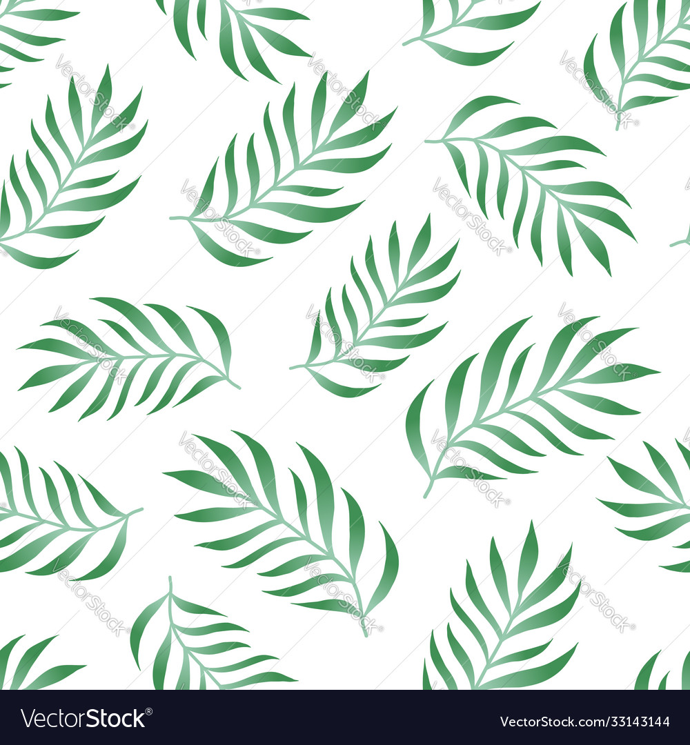 Tropical seamless pattern with fern palm leaves