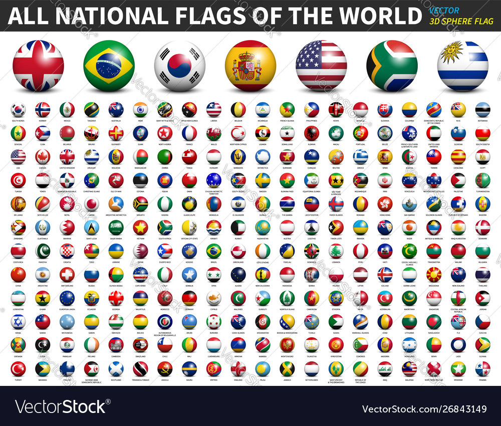 All National Flags World 3d Spherical Royalty Free Vector