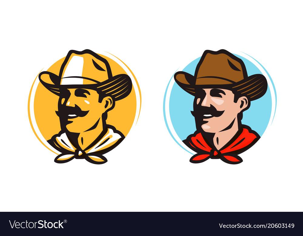 American cowboy sheriff logo or label farmer