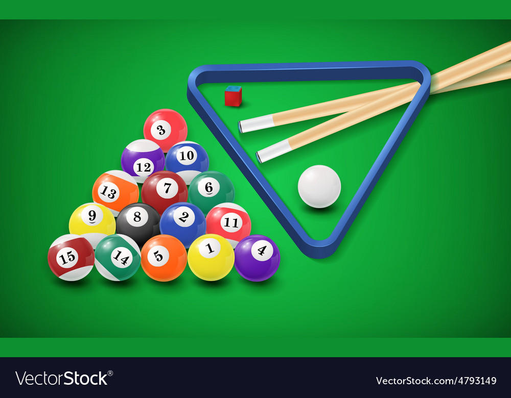 Genial Billiard Balls In A Pool Table Vector Image
