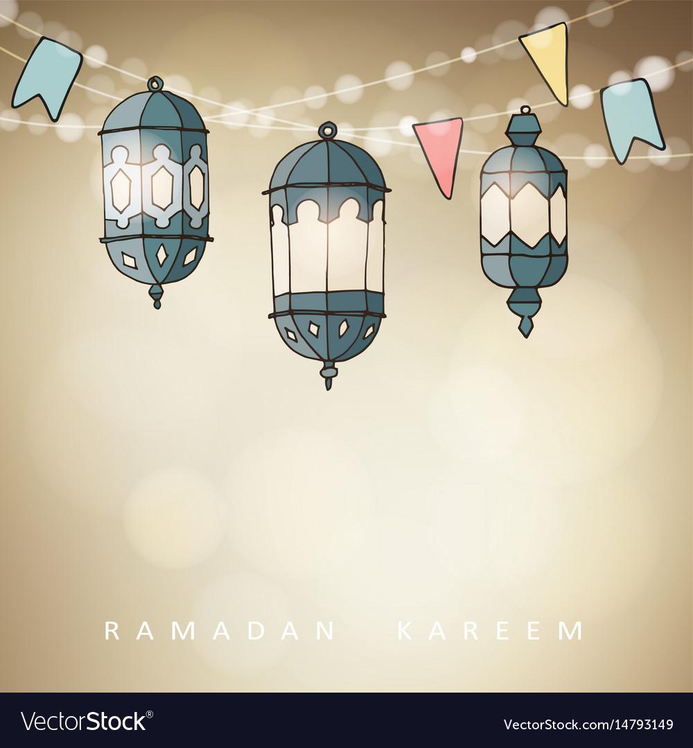 Hand drawn ornamental arabic lanterns with string