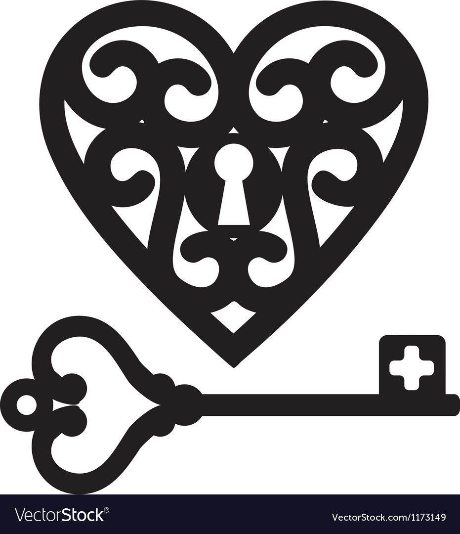 Heart and skeleton key vector image