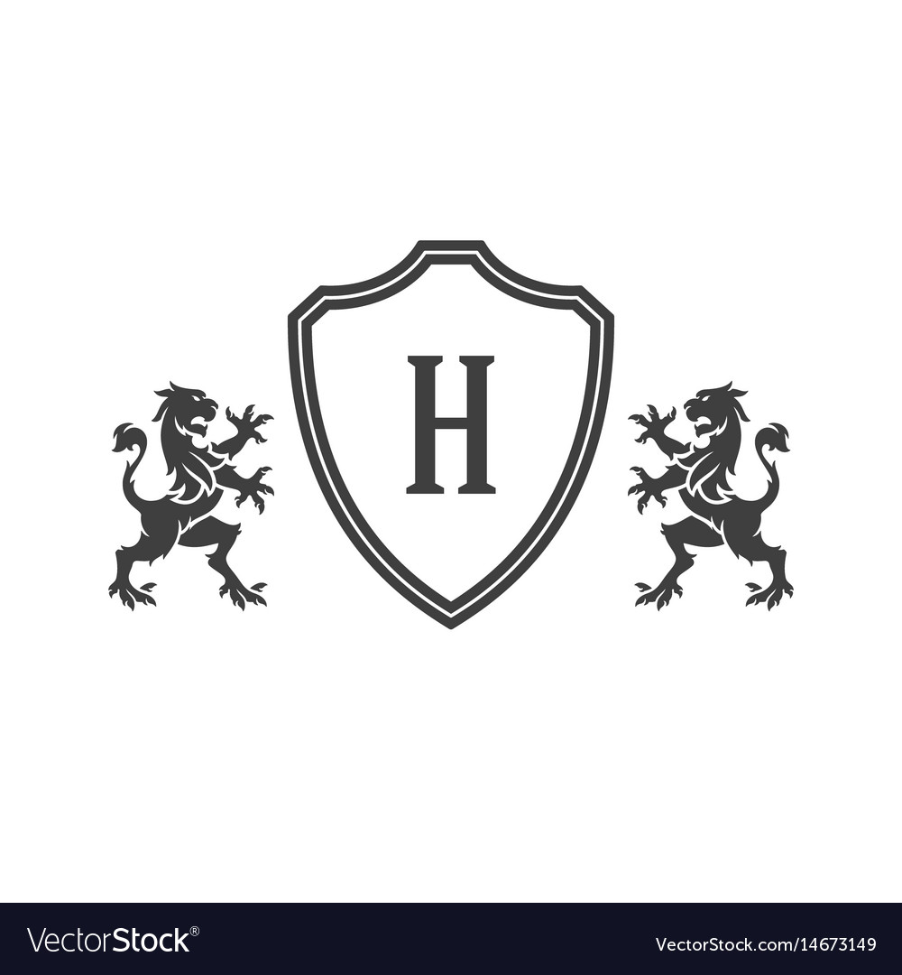 Heraldic lions and monogram on shield isolated on