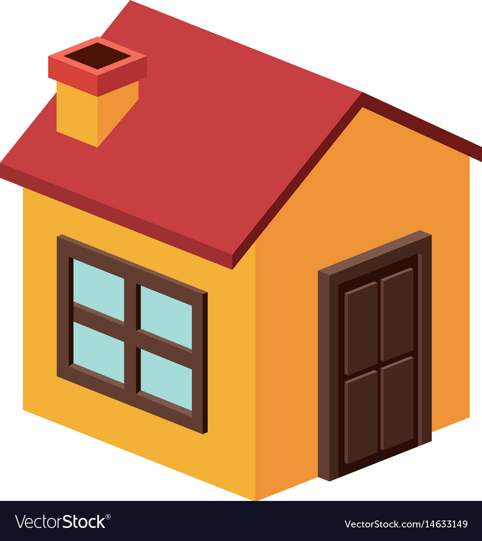 Isometric House With Chimney Design Vector Image