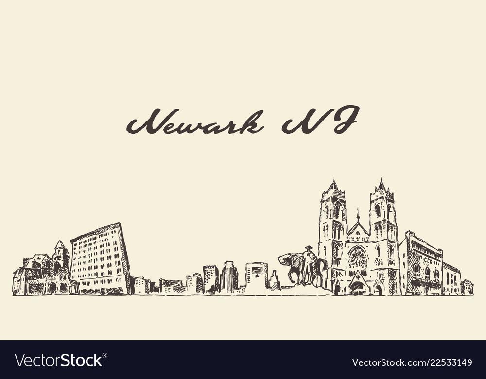 Newark skyline new jersey usa sketch