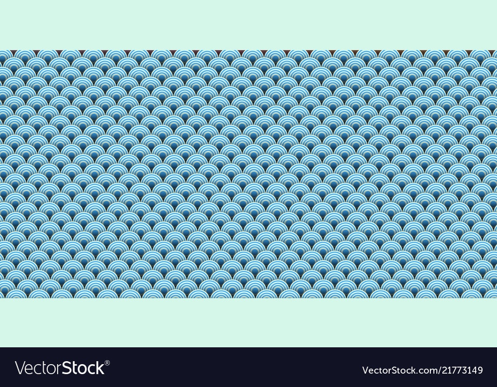 Paper art of sea ocean wave with seamless pattern