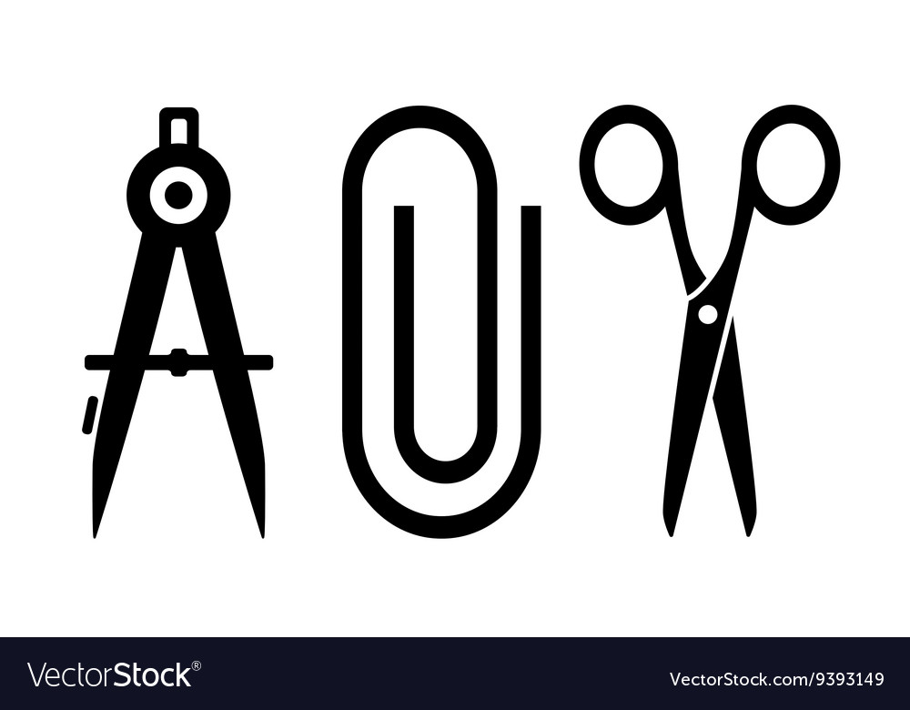 Scissors clip and compass silhouette vector image