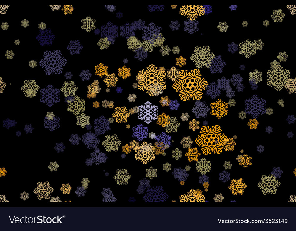 Seamless pattern of snowflakes on a black