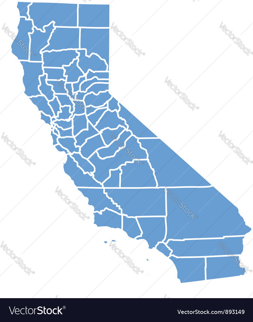 State map of california by counties Royalty Free Vector