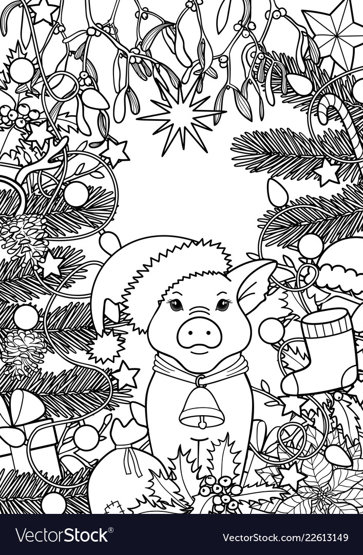 Winter holiday coloring page with pig symbol 2019
