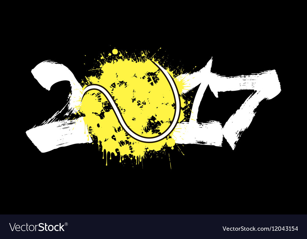 Abstract number 2017 and tennis ball vector image