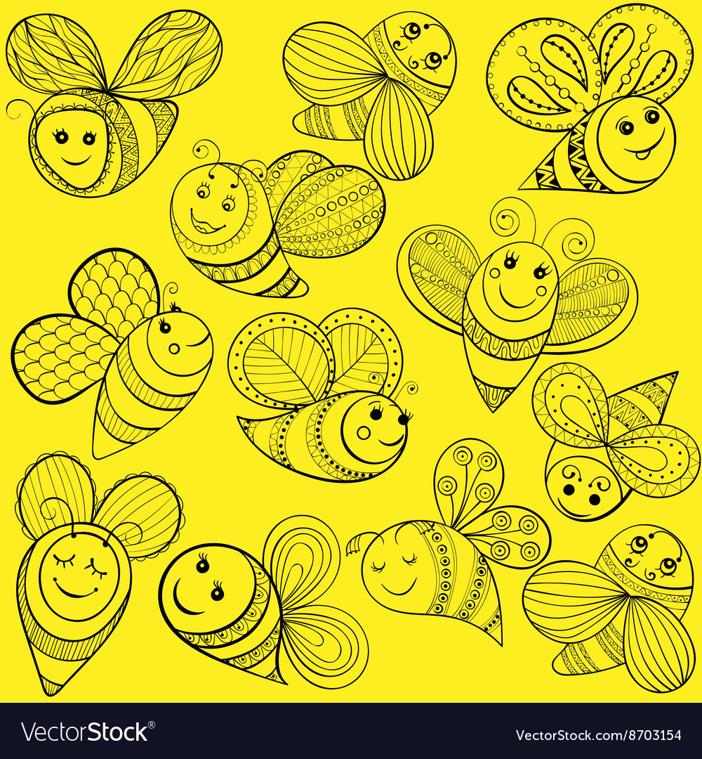 Bees for adult coloring page Hand drawn