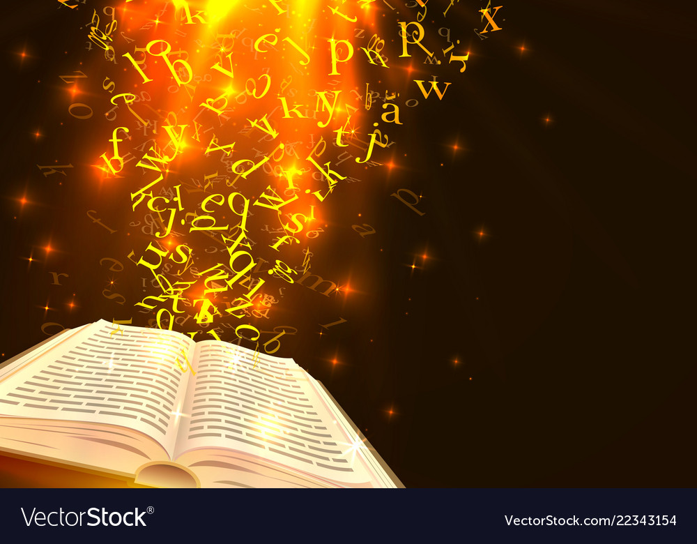 Book with flying letters art