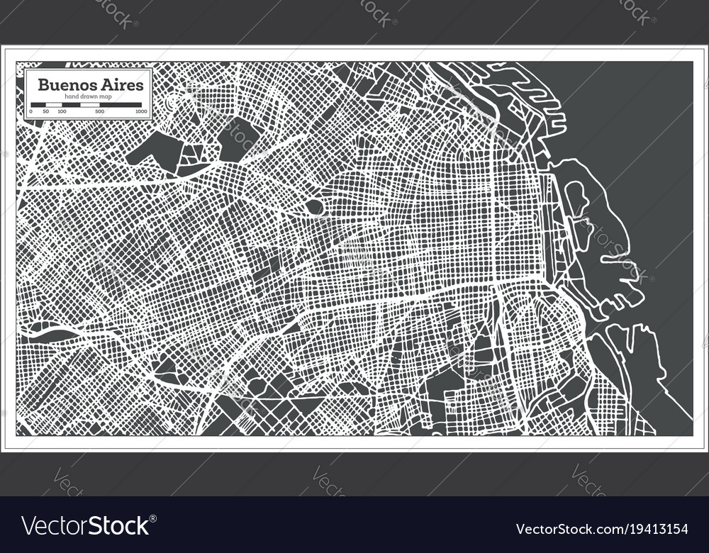 Buenos aires argentina city map in retro style