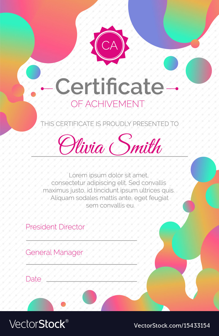 Certificate Template Diploma Design With Fluid Vector Image
