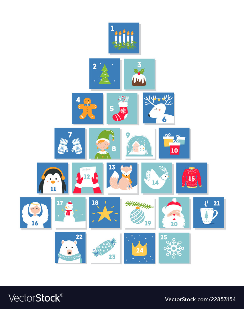 Christmas and new year celebration symbols advent