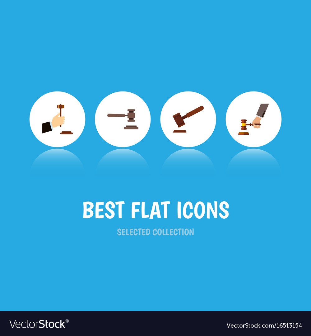 Flat icon lawyer set of justice crime law and vector image