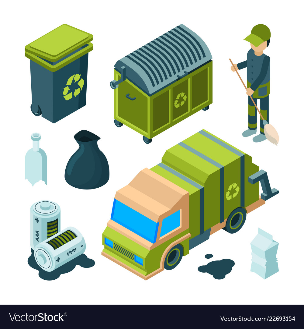 Garbage recycling isometric city cleaning service