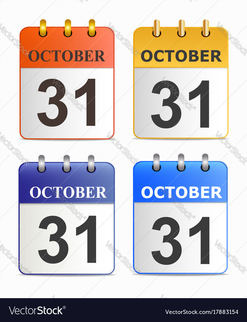 Halloween on page of calendar in different