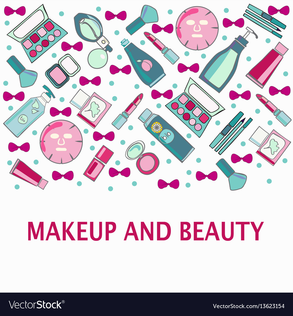 Hand drawn pattern of make-up beauty and healthy