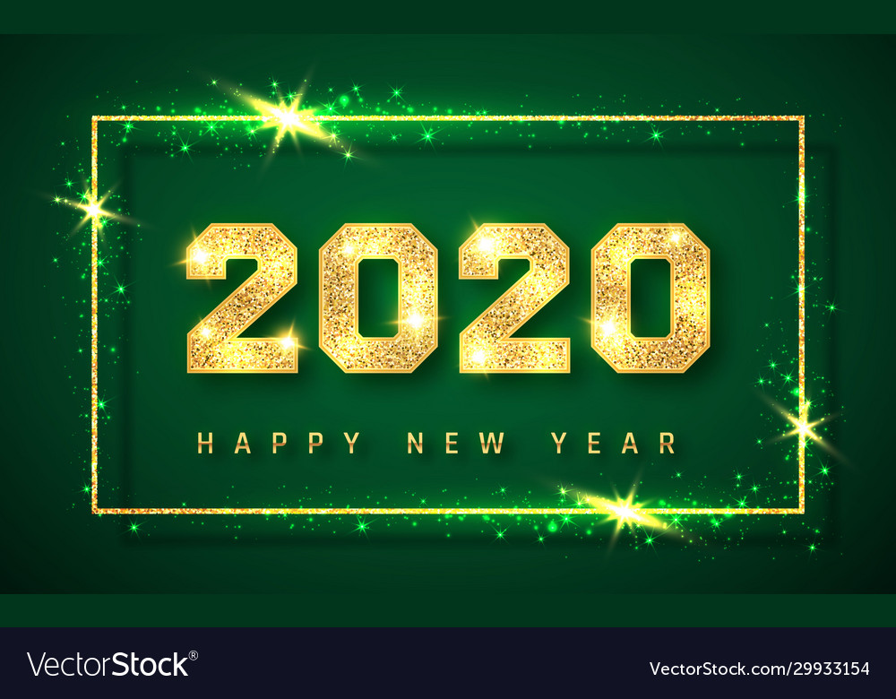 Happy new year 2020 gold shiny glitter glowing vector