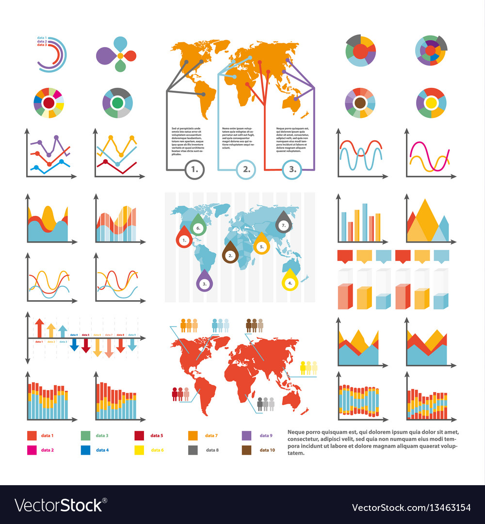 Infographics and analytics diagram and charts
