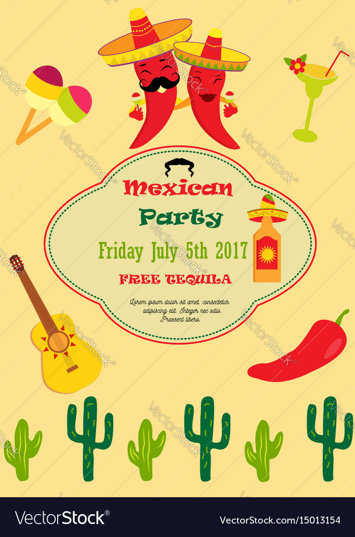 Invitation template for mexican party royalty free vector invitation template for mexican party vector image stopboris Image collections
