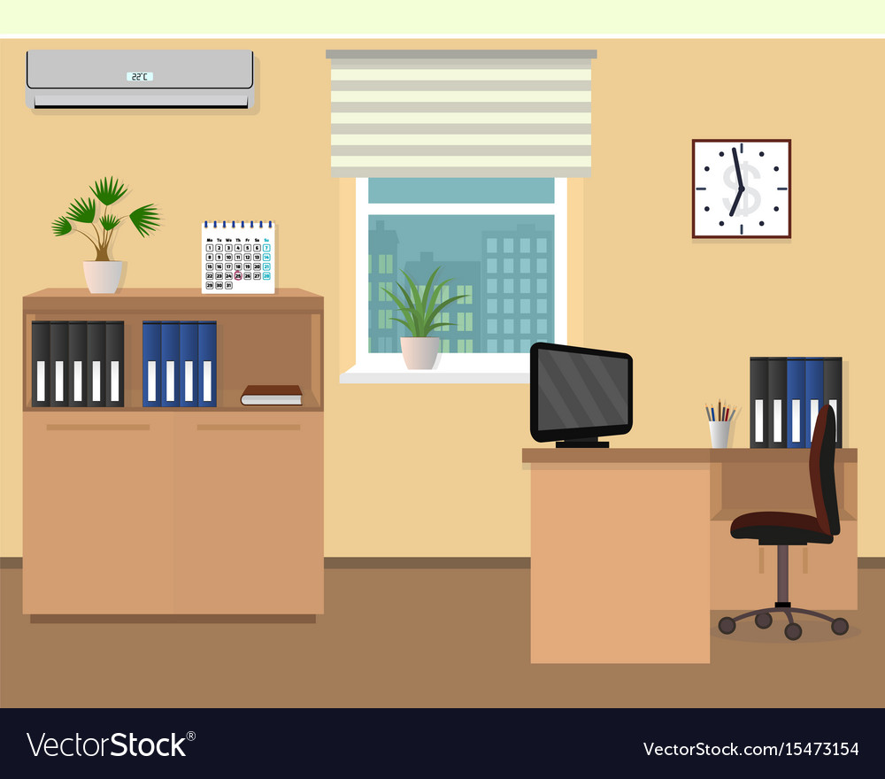 Office room interior workspace design with clock vector image