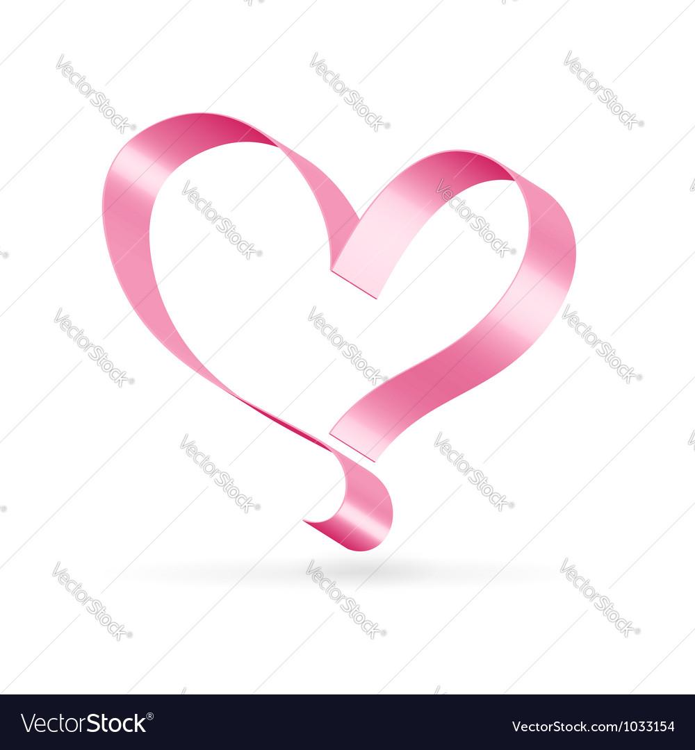 Pink Ribbon Heart Symbol Royalty Free Vector Image
