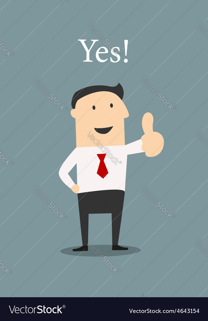 Positive businessman giving a thumbs up