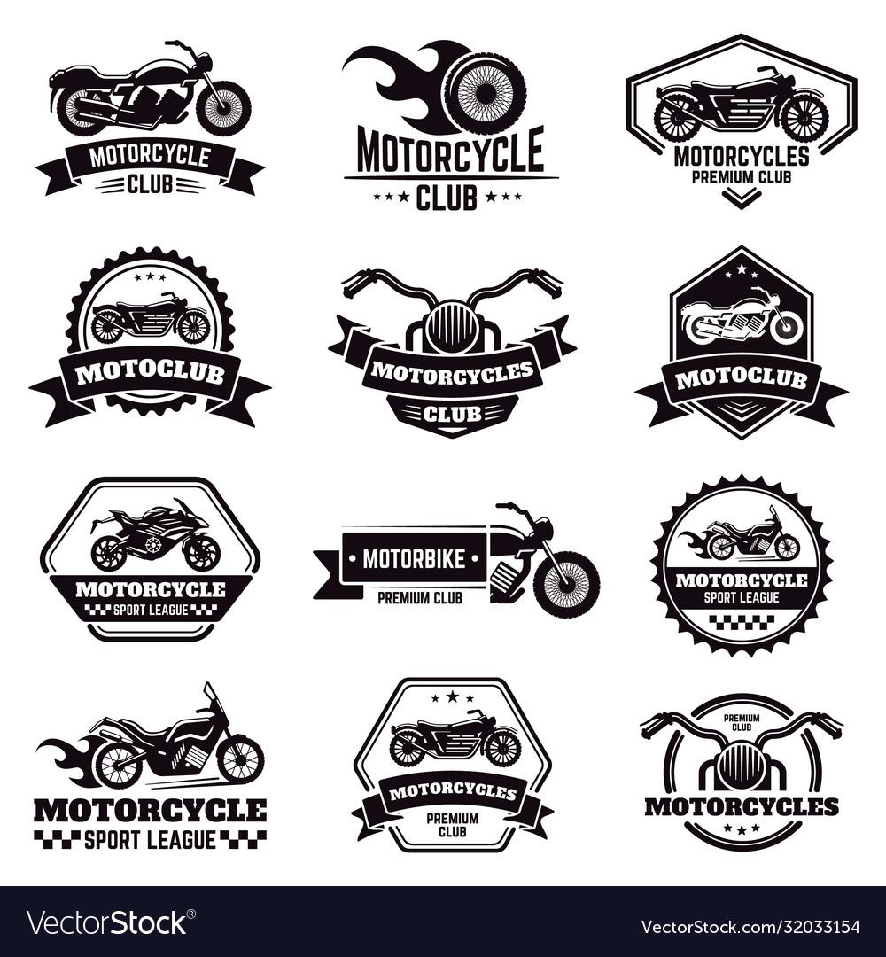 Retro motorcycle emblems biker club motorcycle