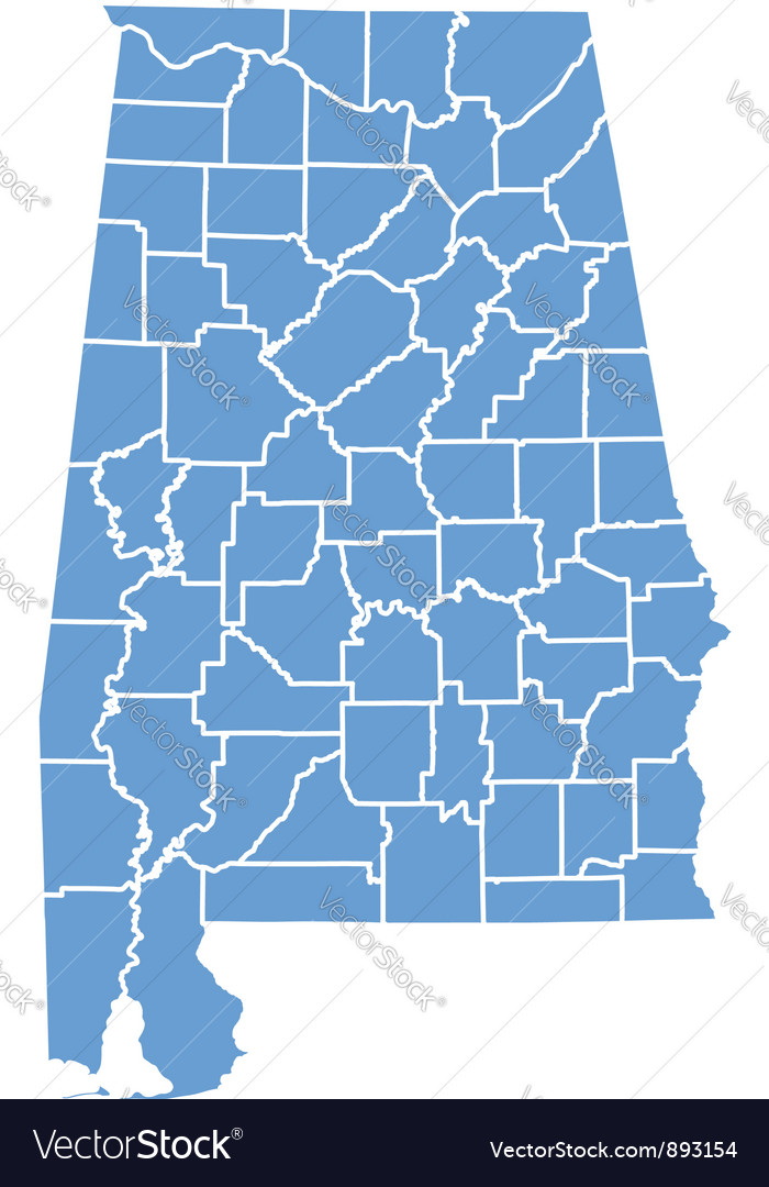 State Map Of Alabama By Counties Royalty Free Vector Image