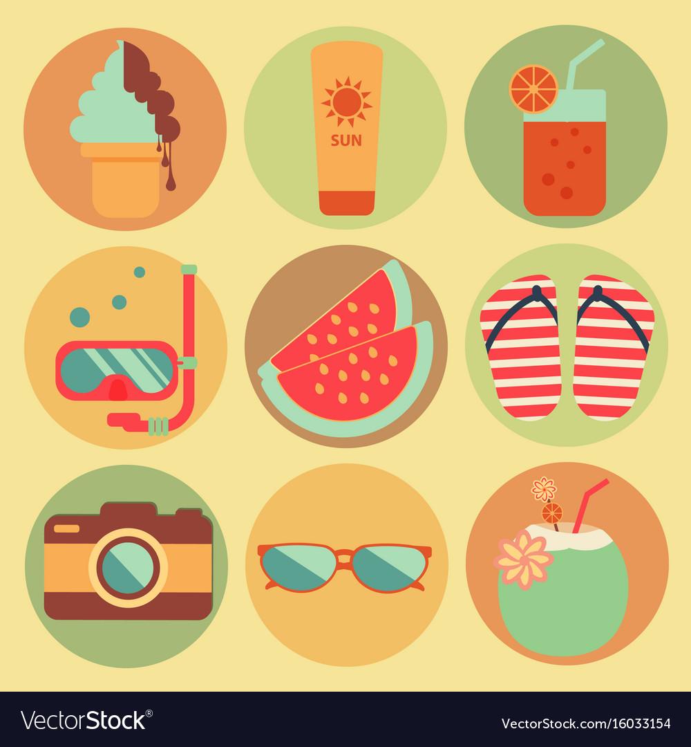 Summer beach holiday icons set design