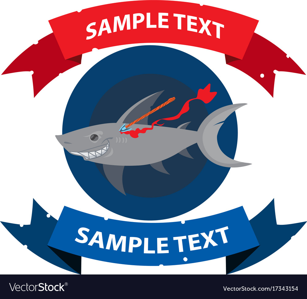 Wounded shark with ribbon banner clipart on the vector image