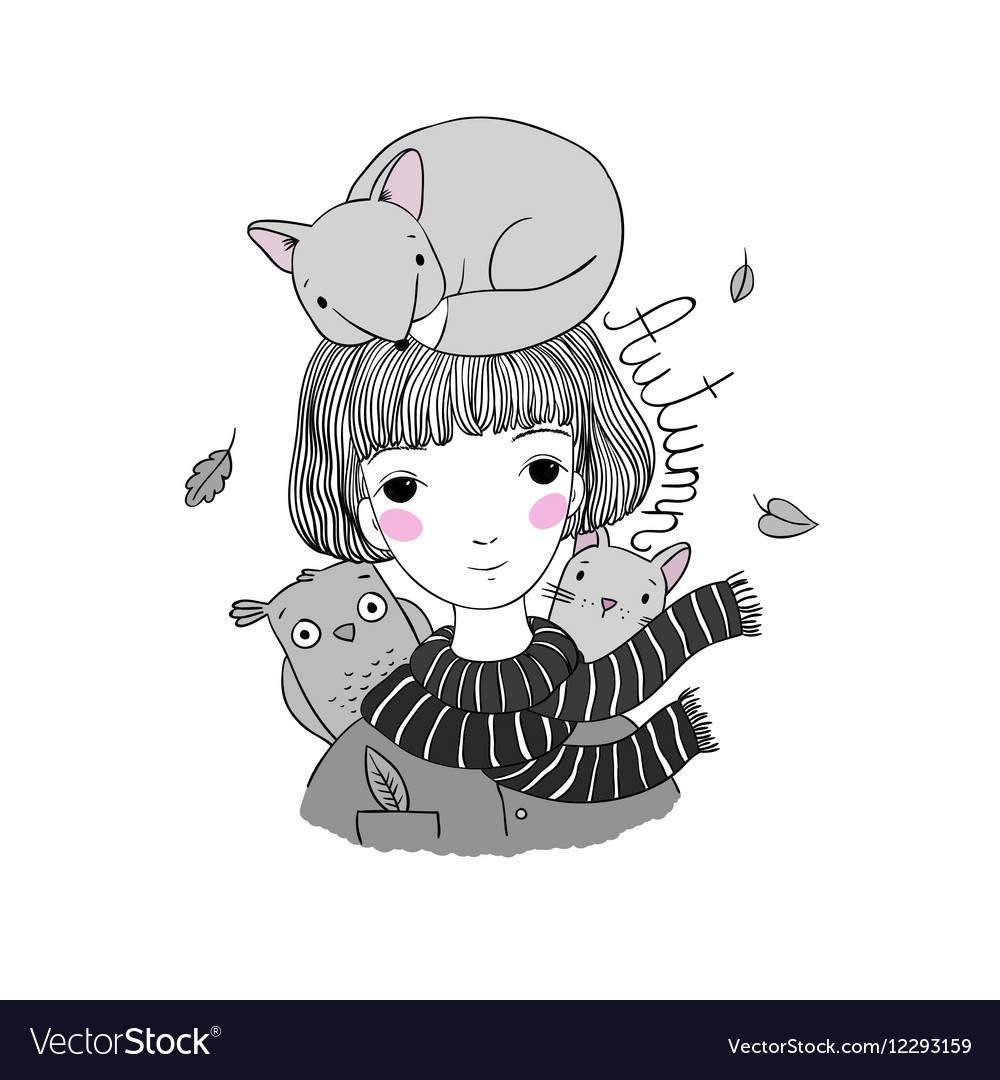 Beautiful Young Girl With Short Hair A Fox A Cat Vector Image
