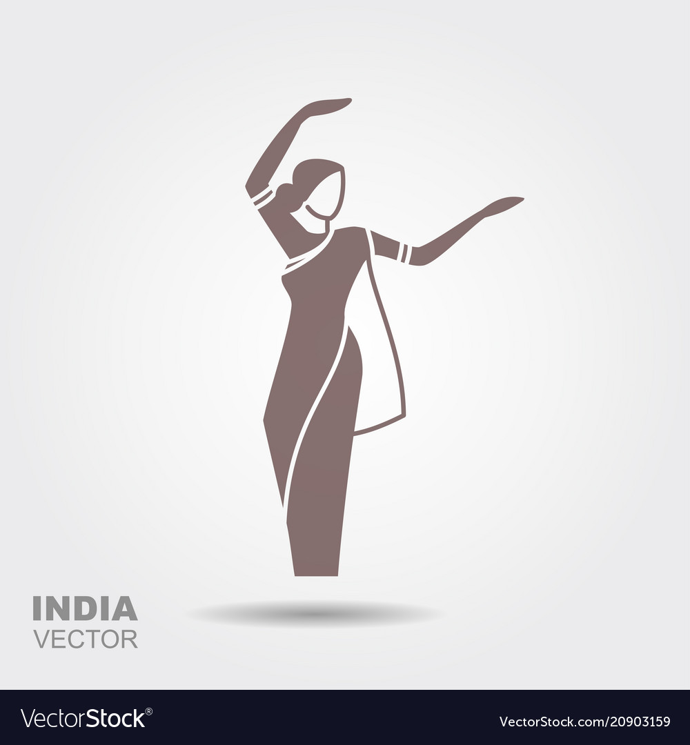 Dancing indian woman in traditional clothing vector image
