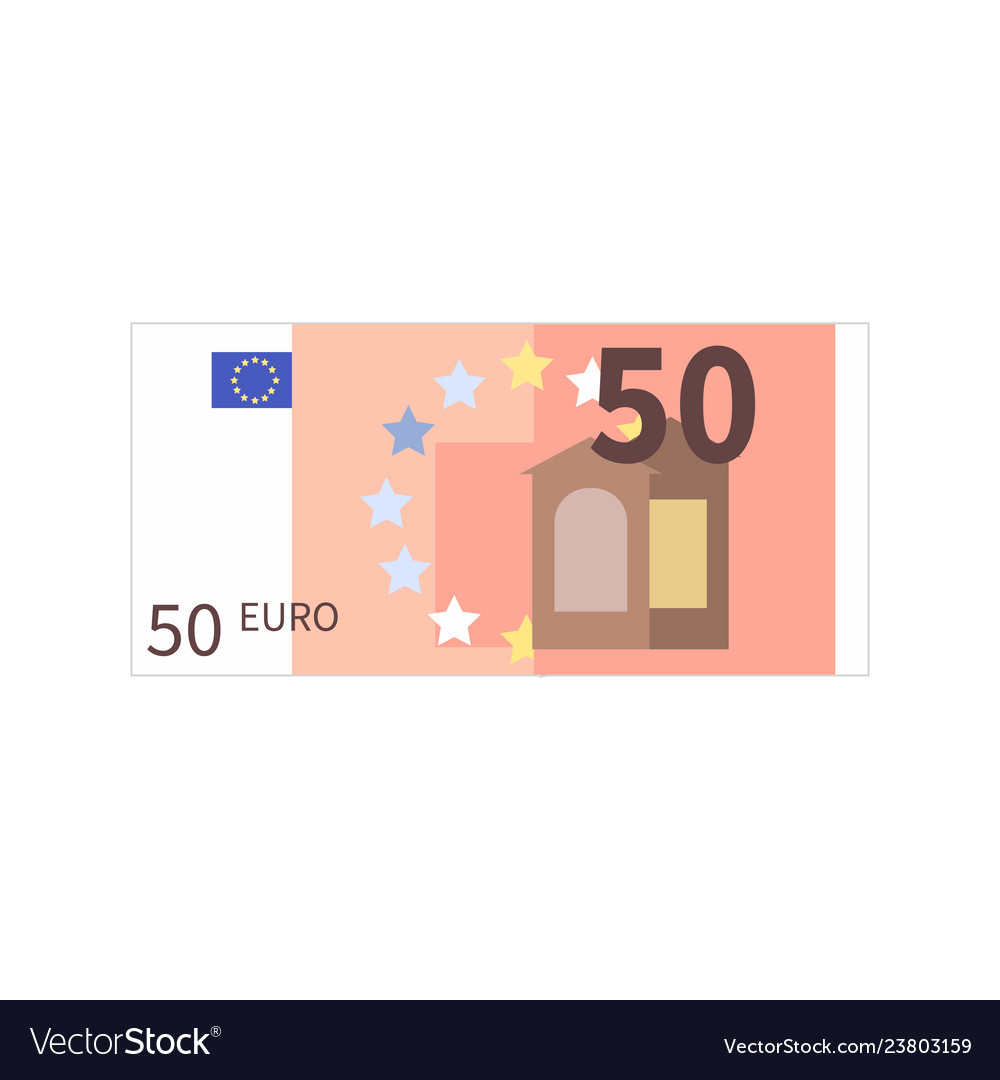Flat simple fifty euro banknote isolated on white