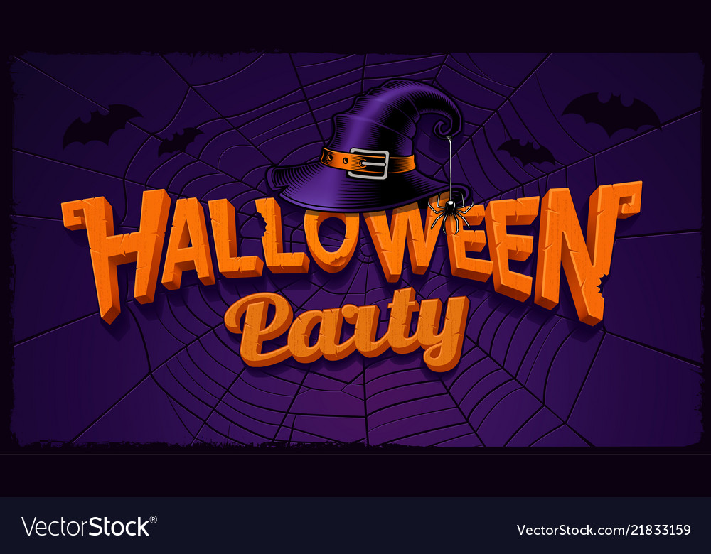 Halloween party banner with pumpkin lettering and