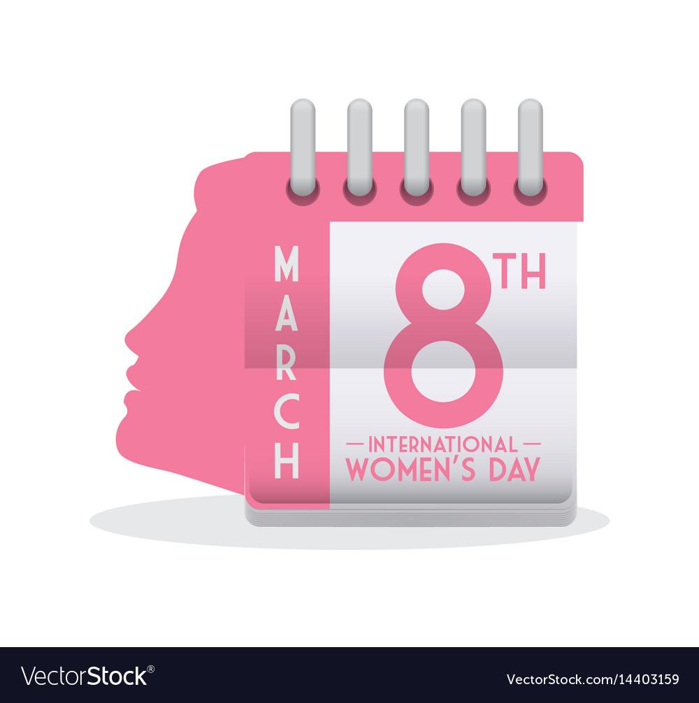 International Womens Day Calendar Girl Profile Vector Image