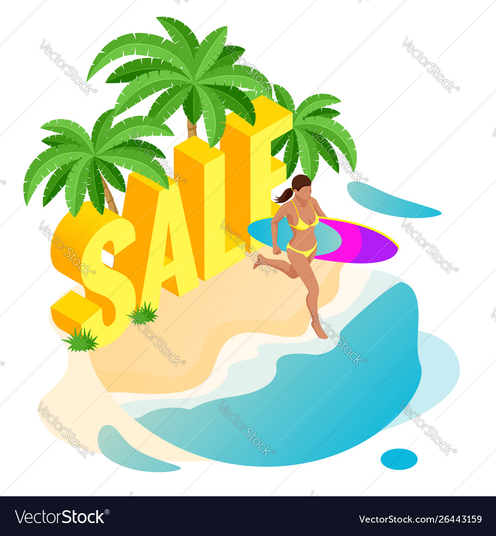 Isometric summer sale promo web banner template