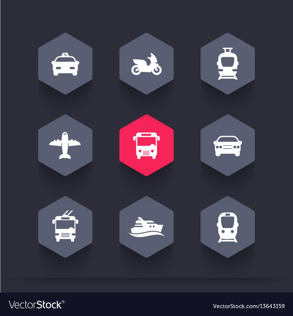 Passenger transport icons public transportation