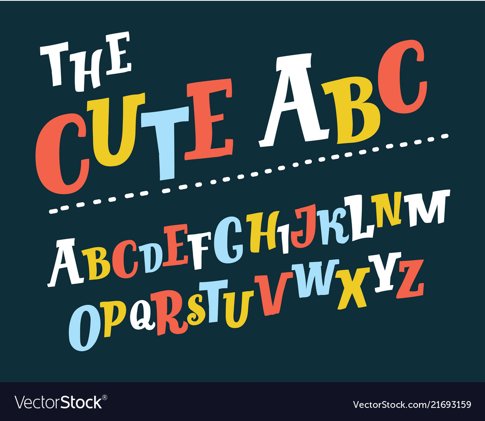 Retro slanted font and alphabet