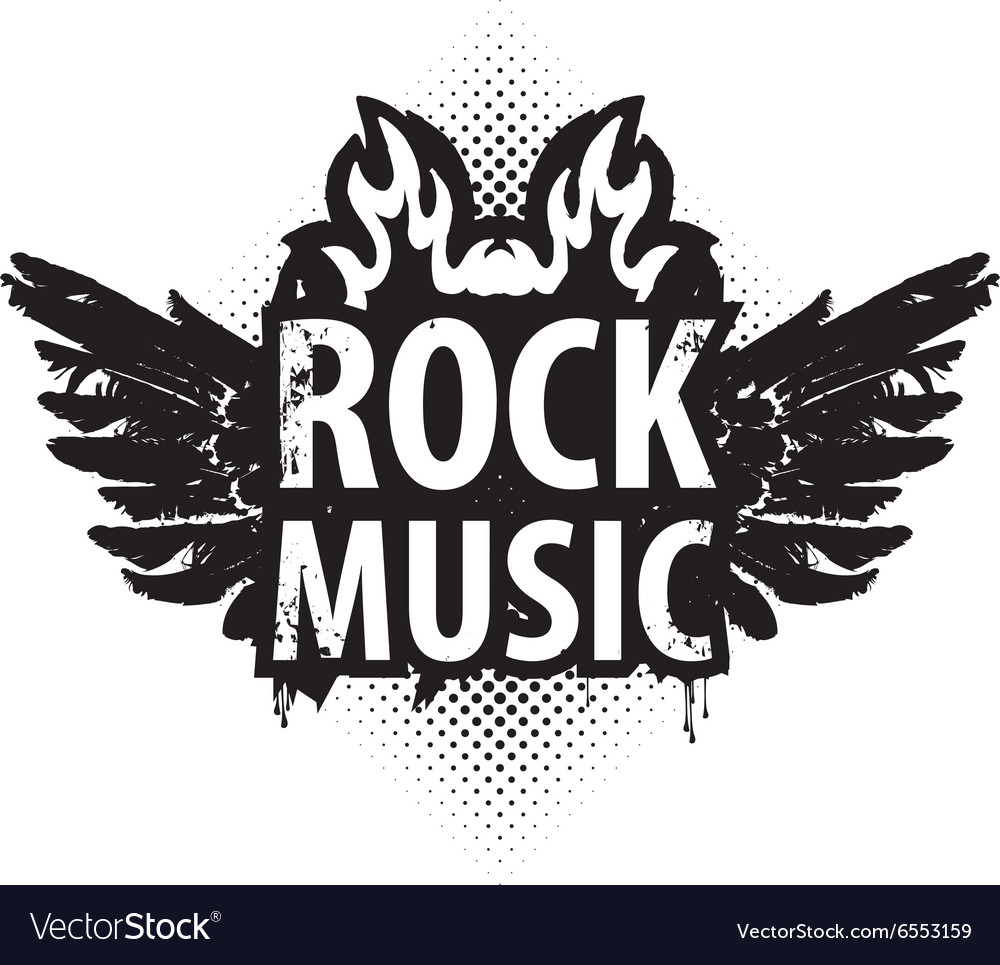 Rock music in the fire vector image