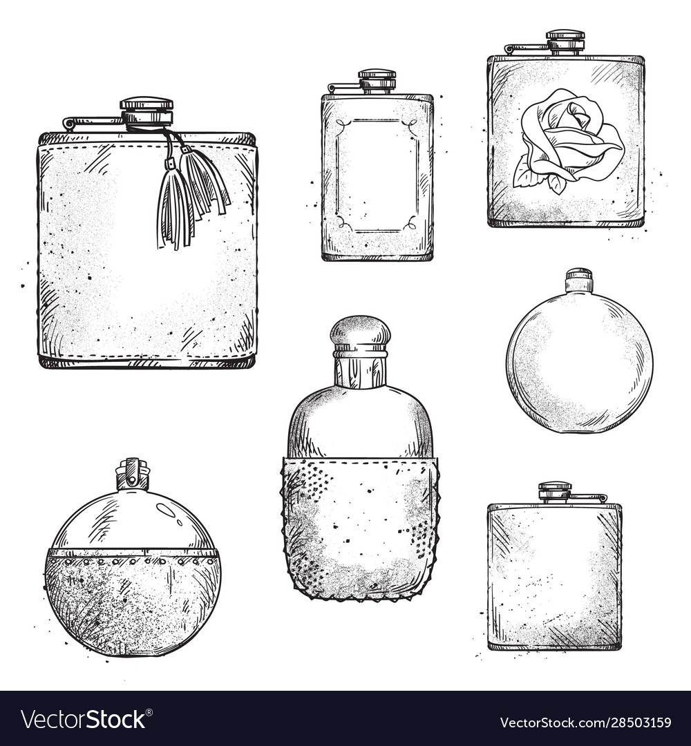 Set different drinking hip flasks drawing