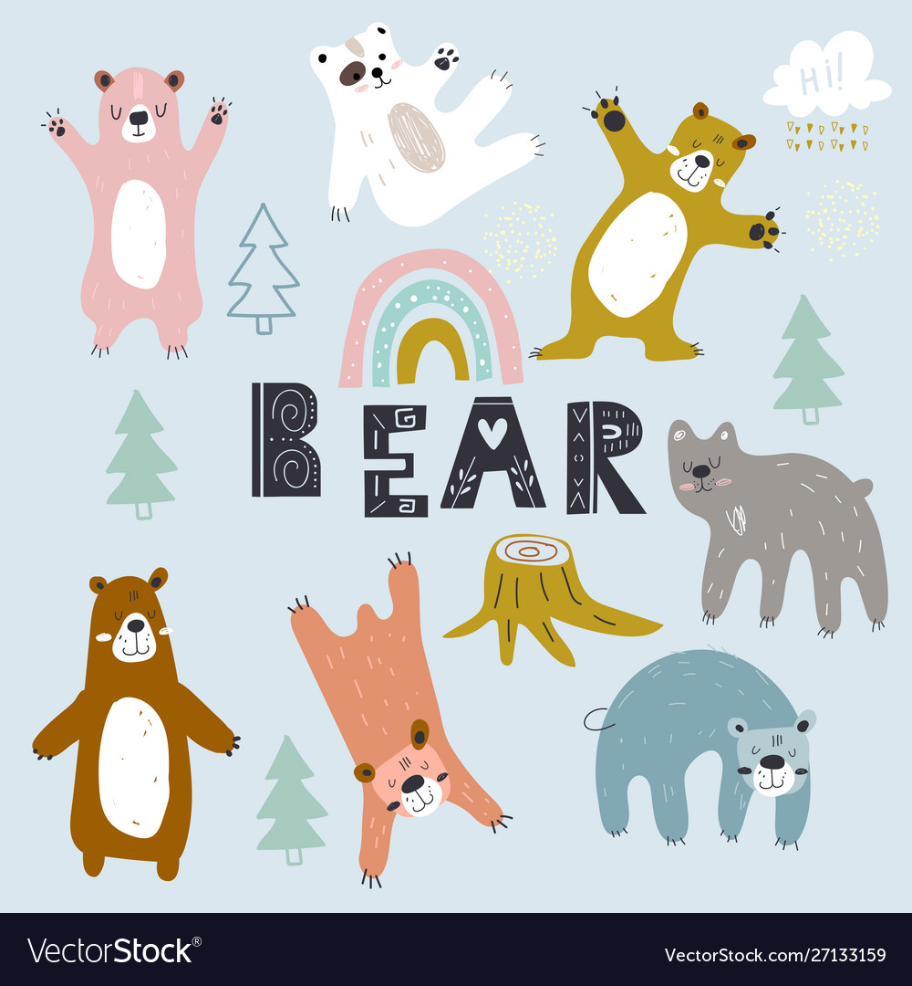 Set grizzly bearscreative scandinavian